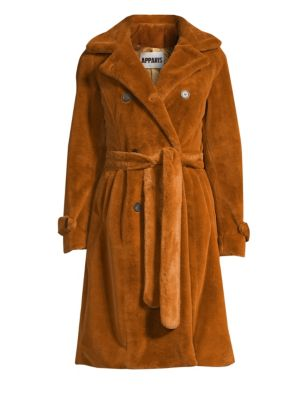 APPARIS Nicole Double-Breasted Faux Fur Coat in Chestnut