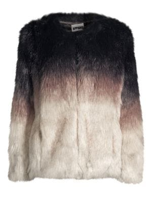 APPARIS Lola Faux Fur Coat in Tricolor
