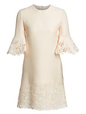 Wool & Silk Flutter Sleeve Lace Dress