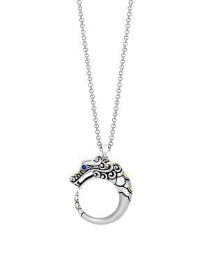 Legends Naga 18K Gold, Silver & Blue Sapphire Eyes Pendant Necklace