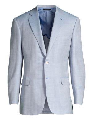 BRIONI   Sky Blue Virgin Wool, Silk & Linen Herringbone Sportcoat   Goxip