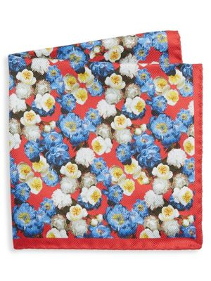 COLLECTION Floral Print Silk Pocket Square