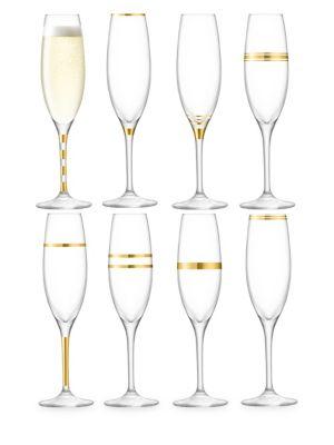 Deco Eight-Piece Champagne Flutes Set