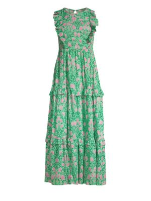 BANJANAN Iris Smocked Maxi Dress in Jade Tulip Rose