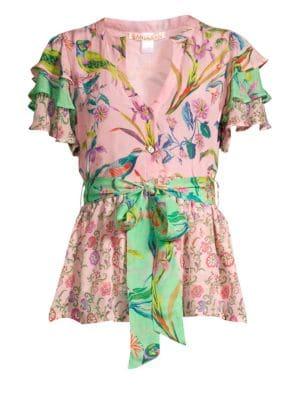 Jaya Contrast Floral & Avian Print Tie Short-Sleeve Silk Blouse