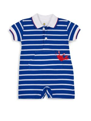 Baby Boy's Knit Pique Stripe Crab Romper