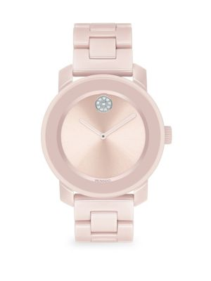 BOLD Pink Ceramic Swiss Quartz Bracelet Watch