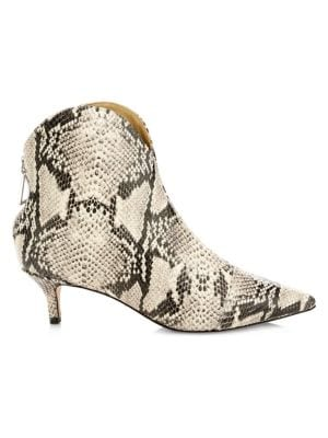 Rosyen Python Print Leather Ankle Boots