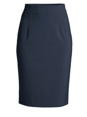 PIAZZA SEMPIONE   Stretch Wool Pencil Skirt   Goxip
