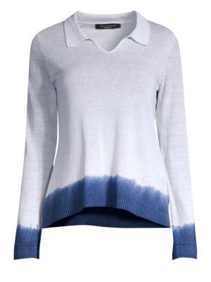 PIAZZA SEMPIONE   Polo Collar Dip-Dye Knit Top   Goxip