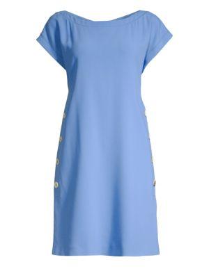 PIAZZA SEMPIONE   Cap Sleeve Button Detail Dress   Goxip