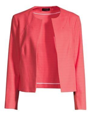 PIAZZA SEMPIONE   Open Front Cotton-Blend Jacket   Goxip