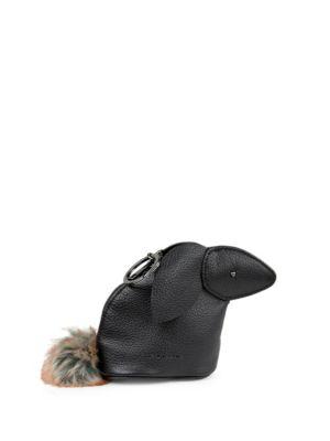 Bunny Faux Fur Pom Pom Leather Dog Waste Bag
