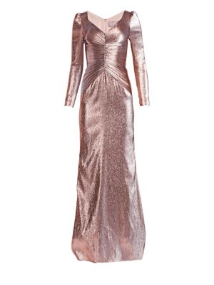 Ruched Metallic Lamé Gown
