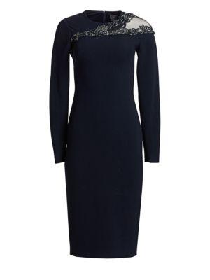 Embellished-Neck Crepe Cocktail Dress