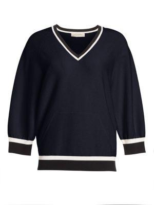 GENTRY PORTOFINO | Long-Sleeve Lurex Knit V-Neck Contrast Trim Sweater | Goxip