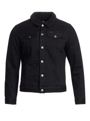 Slim-Fit Faux Shearling Collar Denim Jacket