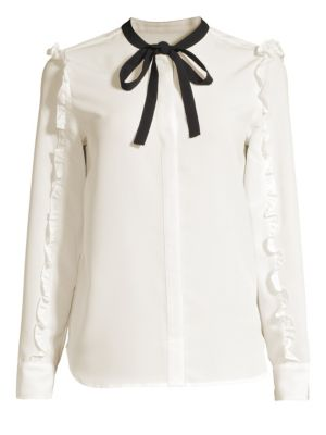Ruffle Chiffon Long-Sleeve Tie-Neck Blouse