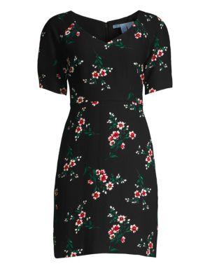 DRAPER JAMES Floral V-Neck Sheath Dress in Black Multi