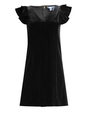 DRAPER JAMES | Velvet Ruffle Shoulder Shift Dress | Goxip