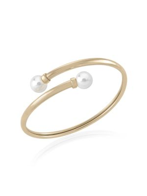 White Round Faux Pearl Bangle