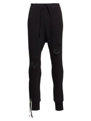 Distressed Waffle Knit Jogging Pants