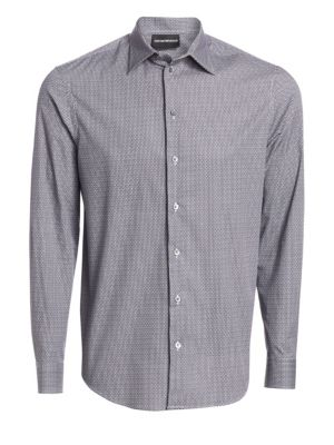 Geometric Print Button-Down Shirt