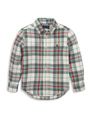 Boy's Plaid Cotton Button-Down Shirt