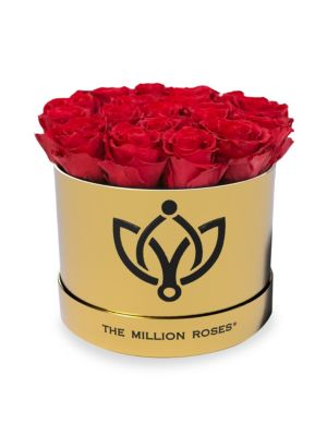 Classic Box Collection Roses in Gold Round Box