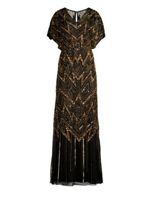 Sheer Beaded Short-Sleeve Gown