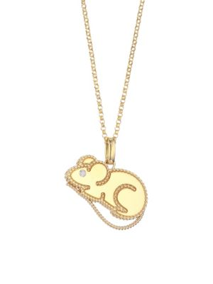 Disney x Roberto Coin Princess Cinderella 18K Yellow Gold & Diamond Mouse Pendant Necklace