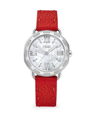 Selleria Stainless Steel & Diamond Leather-Strap Watch
