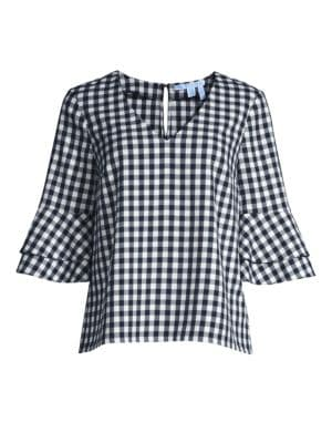Gingham Double Bell-Sleeve Top