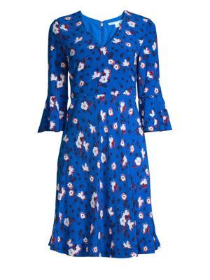DRAPER JAMES Shadow Floral Dress in Royal Blue
