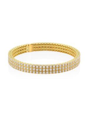 18K Yellow Gold Diamond Stretch Bracelet