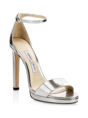 e85b8704286 Jimmy Choo Misty Metallic Leather Stiletto Sandals In Silver
