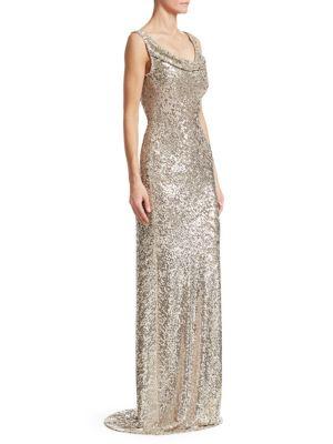 Cowlneck Allover Sequin Column Gown