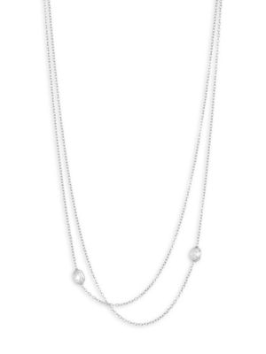 RENEE LEWIS 18K White Gold & Antique Diamond Two Tier Chain Necklace