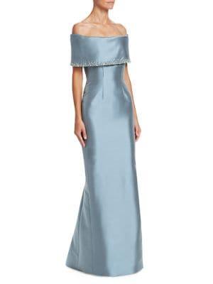 CATHERINE REGEHR   Grace Off-The-Shoulder Crepe Trumpet Gown   Goxip