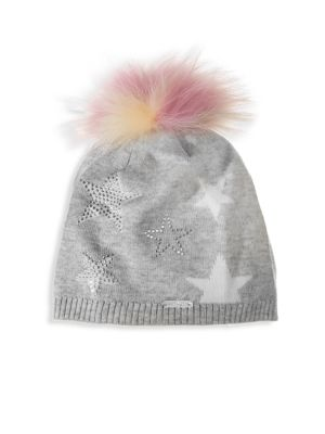 Embellished Fox Fur Pom-Pom Hat