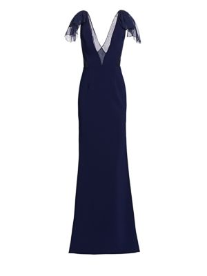 Stretch Crepe & Chiffon Bow Shoulder Gown