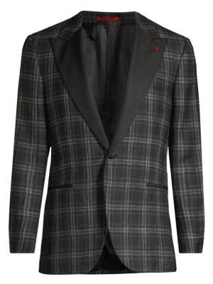Plaid Single-Breasted Wool, Silk & Linen Dinner Jacket