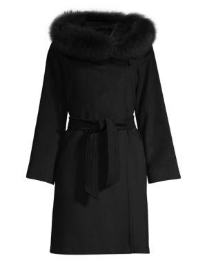 Mango Virgin Wool Fox Fur-Trimmed Coat