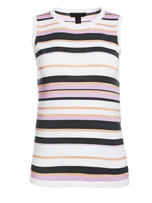 SAKS FIFTH AVENUE | Lennox Striped Sleeveless Shell Tee | Goxip