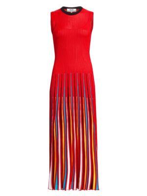 Rainbow Pleated Sleeveless Dress