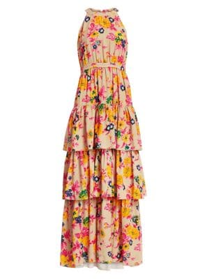 Floral Tiered Sleeveless Gown