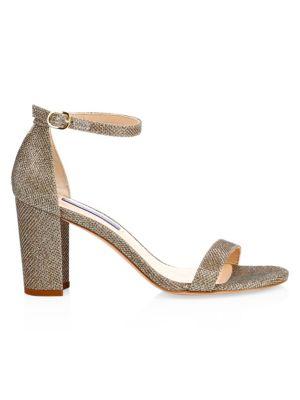 Nearlynude Block-Heel Glitter Sandals