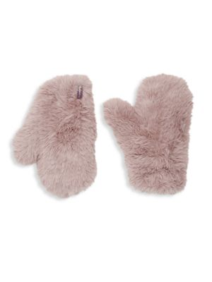 GLAMOURPUSS Signature Knitted Faux Fur Mittens in Beige
