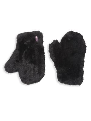 GLAMOURPUSS Knitted Faux Fur Mittens in Black