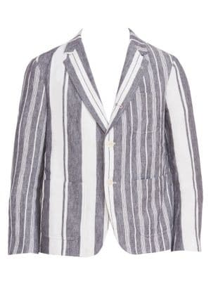 Unconstructed Striped Patch Pocket Cropped Jacket